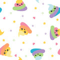 Unicorn cute poop seamless pattern rainbow colorful on white background