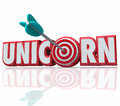 Unicorn 3d Word Arrow Bulls-Eye Hunting Rare Breed Royalty Free Stock Photo