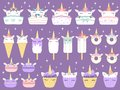Unicorn desserts. Unicorns macaron, delicious bakery cake funny chocolate cupcake and donut. Rainbow ice cream and