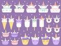 stock image of  Unicorn desserts. Unicorns macaron, delicious bakery cake funny chocolate cupcake and donut. Rainbow ice cream and