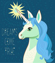 Unicorn Face. Cartoon Vector. Motivation Card With Stars, Decor Elements, Cute Unicorn And Text Dreams Come True.