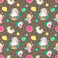 Unicorn Fairy doughnut cupcake fantasy doodle Kawaii cartoons Seamless pattern with Pastel tone