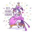 Unicorn with flamingo. Best friends forever. Vector greeting car