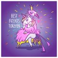 Unicorn with flamingo. Best friends forever. Vector greeting car Royalty Free Stock Photo