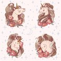 Unicorn with flowers set. Hand drawn vector illustration. Fairy horse cute head surrounded by peonies and stars, moon
