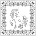Unicorn in the frame, arabesque in the royal, medieval style. Ou