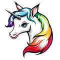 Unicorn head of cute white with rainbow mane isolated on white Stock Image