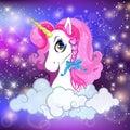 Unicorn head with pink mane portrait night sky