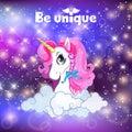 Unicorn head with pink mane on universe background