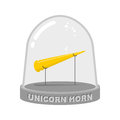 Unicorn horn in Glass bell. Fairy rainbow artifact for study. Sc