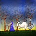 Unicorn horse a cloaked female figure guides a contented through a group of trees in starlight Royalty Free Stock Photography