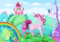Unicorn illustration of a beautiful landscape with Royalty Free Stock Images