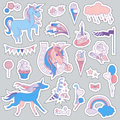 Unicorn multicolor stickers with unicorns, balloons, cloud, stars, ice-cream, fireworks, cake, sweets, and flag