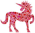Unicorn pink polka dots illustration in isolated on white background Stock Photography