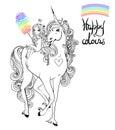 Unicorn and princess Royalty Free Stock Photo