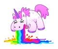 Unicorn puking rainbow Royalty Free Stock Photo
