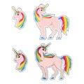 Unicorn, rainbow hair, set, patch