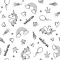 Unicorn, rainbow and hearts seamless pattern hand drawing black outline isolated