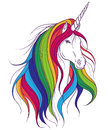 Unicorn with rainbow mane on white background.