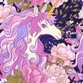 The unicorn, roses and butterflies Seamless pattern in pink, pur