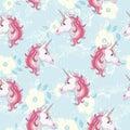 Unicorn seamless pattern. Unicorns with rainbow mane and horn on flat purple background with stars. Vector illustration