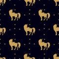 Unicorn silhouette, golden, seamless 1