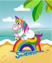 Unicorn sits on the rainbow and drinks juice