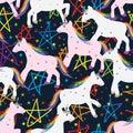Unicorn star seamless pattern