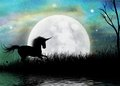Unicorn and surreal moonscape background a fantasy perfect as a fairy setting with a giant moon a galloping Stock Photos