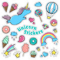 Unicorn sweet set of stickers, pins, patches in cartoon comic style.