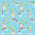 Unicorn themed seamless vector pattern.