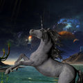 Unicorn universe a beautiful silver prances with its wild mane flowing and muscles shining Stock Photography