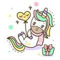 Unicorn vector icon isolated on white. Pony sticker, patch badge. Magic cartoon fantasy cute animal. Rainbow hair.
