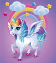 Unicorn with colorful hear on rainbow background Royalty Free Stock Photo
