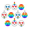 Unicorns. Characters, emoticons or emoji. Smiles, set of flat signs. Vector