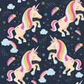 Unicorns with stars and rainbow.