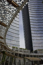 Unicredit tower building in Milan, and its covered roofing Royalty Free Stock Photo