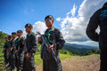 Unidentified border soldier line up for protection chiangrai august in chiang rai thailand Stock Photo
