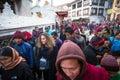 Unidentified buddhist pilgrims near stupa boudhanath during festive solemn puja khatmandu nepal dec of h h drubwang padma norbu Stock Photos