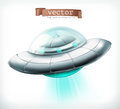 Unidentified flying object. UFO spacecraft vector icon Royalty Free Stock Photo