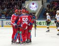 Unidentified hockey player rejoice of a goal moscow december on game cska vs severstal on russian khl premier league championship Royalty Free Stock Photos