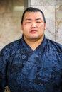 Unidentified japanese sumo wrestler fukuoka japan november in fukuoka japan on november waits for a train to his Stock Photo
