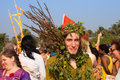 An unidentified man in a green suit made of natural materials at the annual festival arambol beach goa india february freaks Stock Image