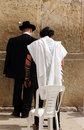 Unidentified man in tefillin and orthodox are praying at the wailing wall western wall jerusalem israel Royalty Free Stock Photo