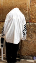 Unidentified man in tefillin praying at the wailing wall western wall jerusalem israel Stock Image