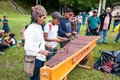 Unidentified Mayan people playing percussion in Tikal, Guatemal Royalty Free Stock Photo