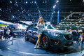 Unidentified modellings posted over mazda cx nonthaburi december display on stage at the th thailand international motor expo on Royalty Free Stock Photography