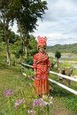 Unidentified Mong tribe young woman with traditional clothes Royalty Free Stock Photo