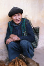 Unidentified old man selling tobacco leaves in lung phin market ha giang vietnam december is one of the most Stock Photos