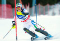 Unidentified participant of ski race pozza di fassa italy december performs at italian slalom championship on december pozza di Stock Photos